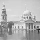 Spring high water on the territory of Nizhegorodskaya Yarmarka. Old Fair cathedral view